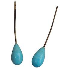 """Antique """"Jumeau blue"""" doll earrings"""