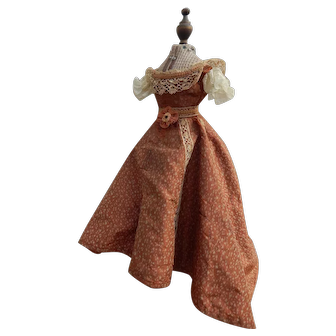 Antique silk French fashion dress & petticoat