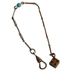 Antique watch chain for doll, gold fill