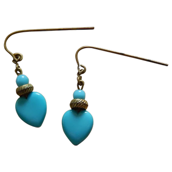 """Jumeau blue"" heart doll earrings"
