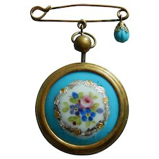 Antique French doll pocket watch pin
