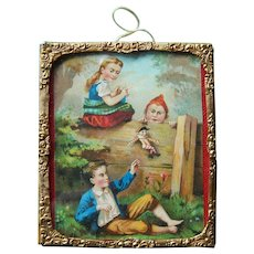 Antique dollhouse picture- children playing