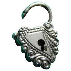 Tiny antique silver padlock for doll
