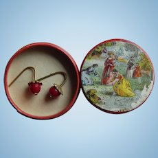 Antique French red glass doll earrings/box