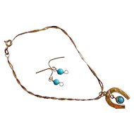 14KT Gold Persian Turquoise doll jewelry