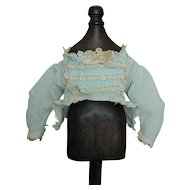 Old light blue dotted Swiss blouse