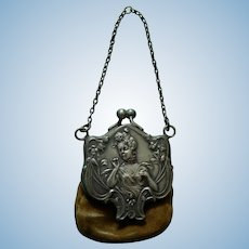 Beautiful antique French fashion purse with mirror