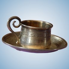Antique French silver cup & saucer for fashion