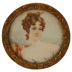 Small antique Georgian portrait miniature