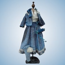 """Antique outfit for 16""""-17"""" French fashion Huret"""