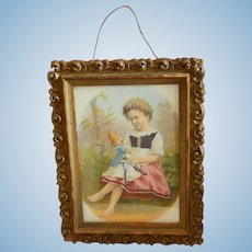Girl & her punch doll antique framed lithograph