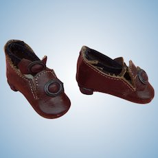 Vintage artist leather French fashion doll shoes