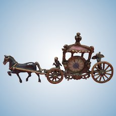 Old regal horse drawn carriage frame for doll