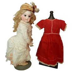 """Antique red cotton dress for 14""""-16"""" bebe"""