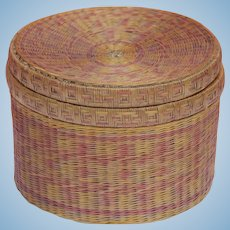 Cute antique finely woven straw box for doll