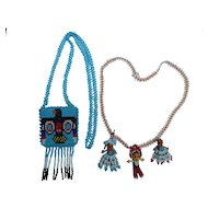 Vintage Native American beaded doll purse & necklace