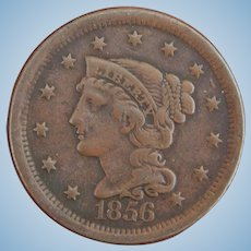 Genuine 1856 American large cent for doll