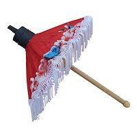 Vintage hand painted silk umbrella for Oriental doll