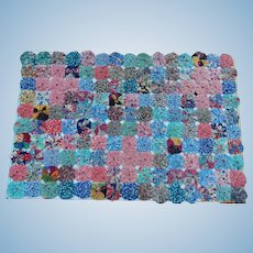 Lovely old yo-yo quilt for doll bed