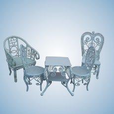 Vintage metal wicker dollhouse furniture