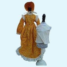 Vintage homemade dress & bonnet for china