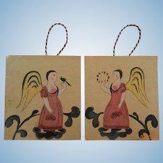 Folk art angel dollhouse prints