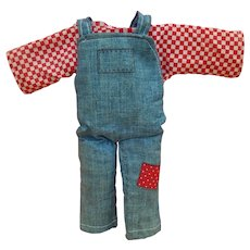 "Cute vintage shirt & denim overalls for 9"" doll"