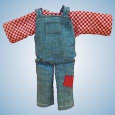 "Cute vintage shirt & denim overalls for 9"" doll"
