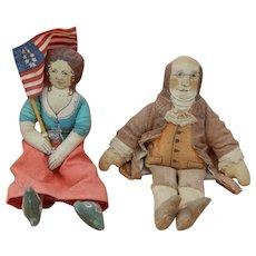 Vintage Betsy Ross & Ben Franklin cloth dolls