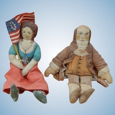 Vintage Betsy Ross & Ben Franklin cloth dolls