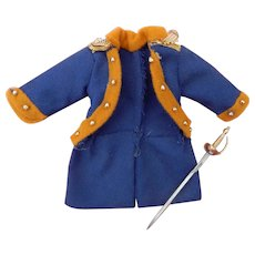 Small vintage doll coat & sword