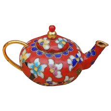 Cute vintage red cloisonne teapot for doll