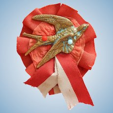 Lovely old French swallow medal ribbon for bebe