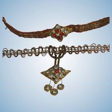 Beautiful metallic braid necklace & bracelet for bebe
