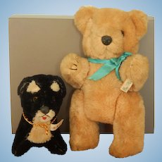 Old vintage pure wool black dog & gold bear