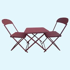 Vintage folding metal table & chairs for dolls