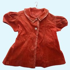 Antique doll's turkey red coat