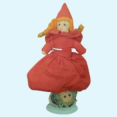 Vintage Little Red Riding Hood topsy turvy doll