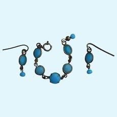 """Beautiful """"Jumeau blue"""" bracelet & earrings for French bebe"""