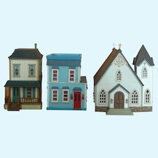 Vintage set of 1987 Hallmark miniature houses & church