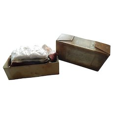 Antique box full of antique doll clothes & accessories