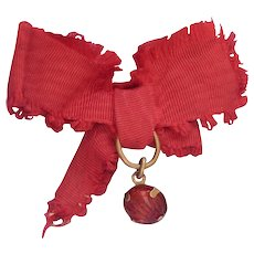 Lovely antique red ribbon charm pin for doll