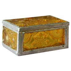 Small old yellow leaded glass box with mirror for doll