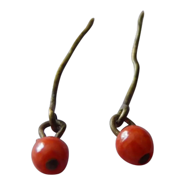 Tiny old genuine red-orange coral doll earrings