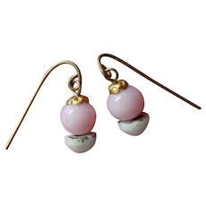 Lovely old pink/white glass doll earrings