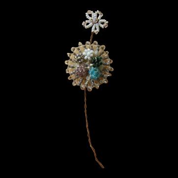 Beautiful old flower rosette bead work for doll bonnet/dress