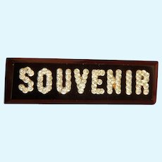 Antique glass inlay SOUVENIR bar pin for doll
