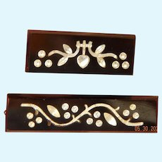 Set of antique glass inlay bar pins for dolls