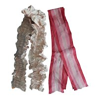 Beautiful vintage silk/satin ruched panel & ribbons for doll dress