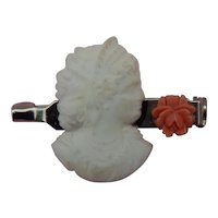 Glass cameo & coral rose pin for doll